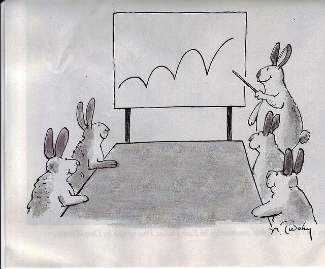 cartoon of rabbits giving a presentation